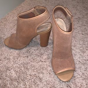 Aldo heels in a tan camel shade.